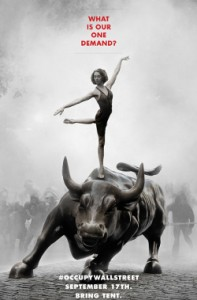 girl standing on bull statue with gas masked crowd in smoke